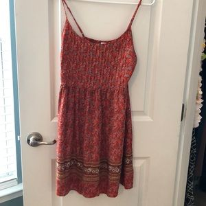Old Navy dress size Small. Orange base. Like new.